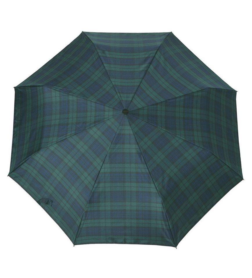 Doppler Regenschirm, Taschenschirm grün »Carbonsteel Karo« in blau/grün
