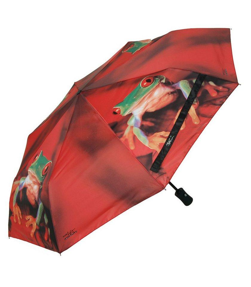 Doppler Regenschirm, »Taschenschirm Frosch« in rot/grün