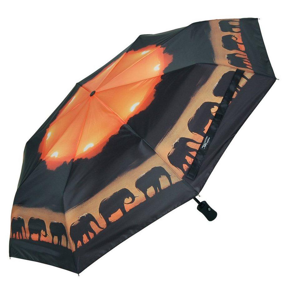 Doppler Regenschirm, »Taschenschirm Elefanten« in schwarz/orange