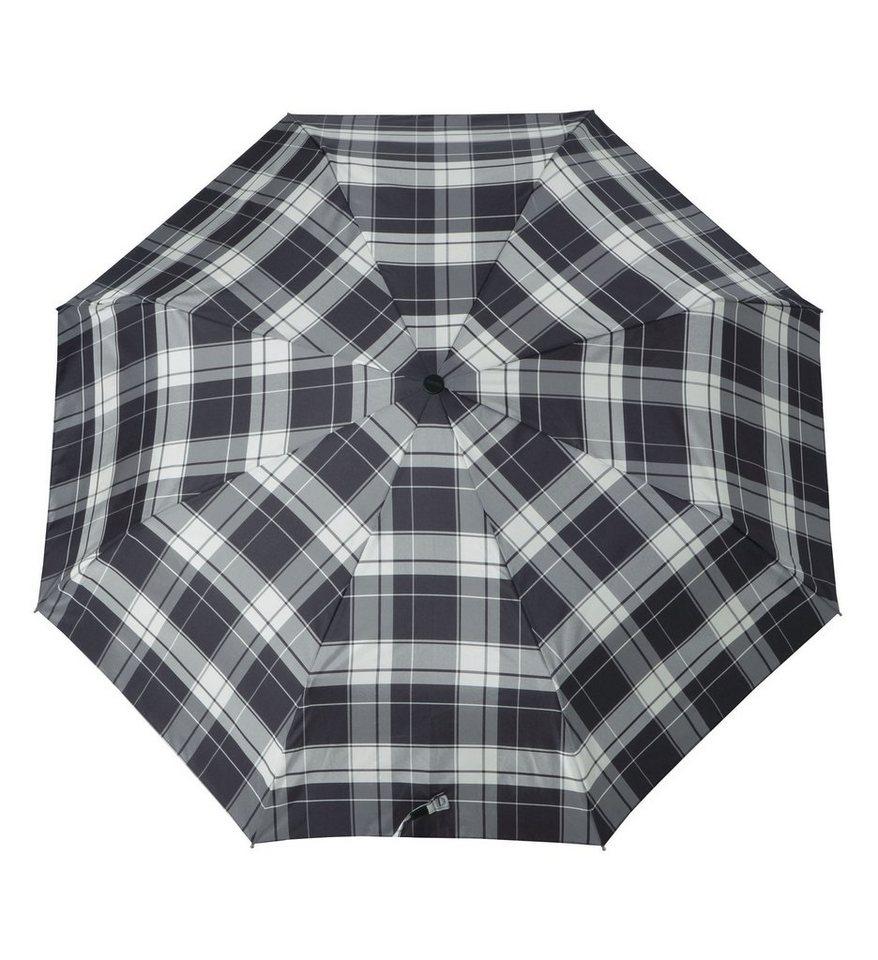 Doppler Regenschirm, Taschenschirm grau »Carbonsteel Karo« in schwarz/weiß