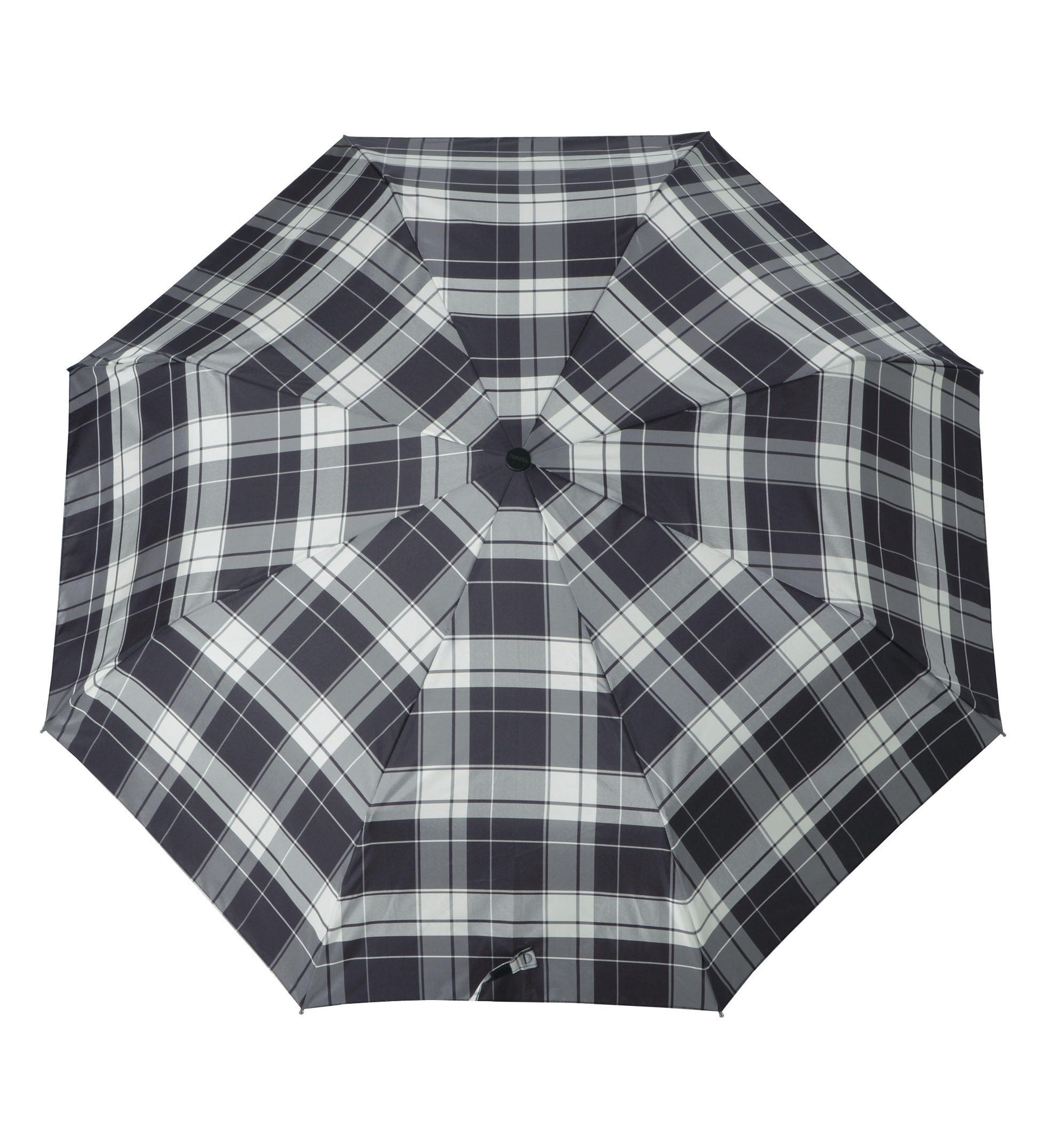 Doppler Regenschirm, Taschenschirm grau »Carbonsteel Karo«
