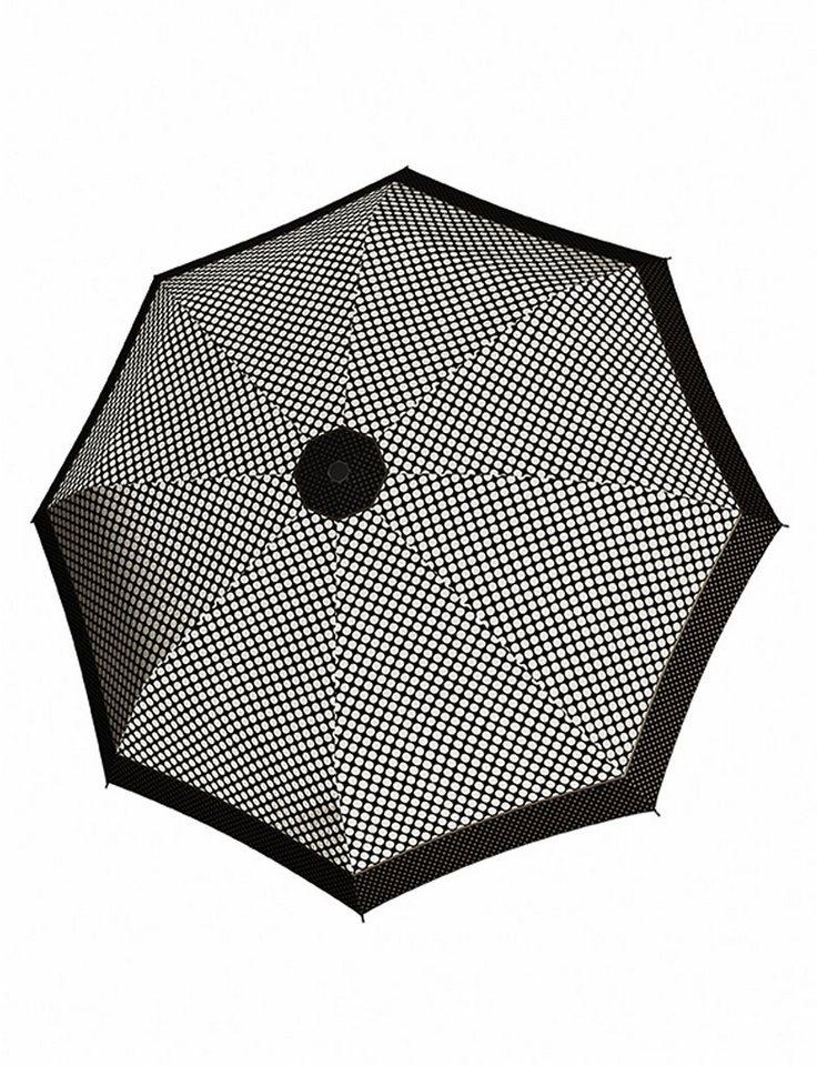 Doppler Regenschirm, Taschenschirm mit Pepitamuster »Magic Carbonsteel Sparkling« in weiß/schwarz