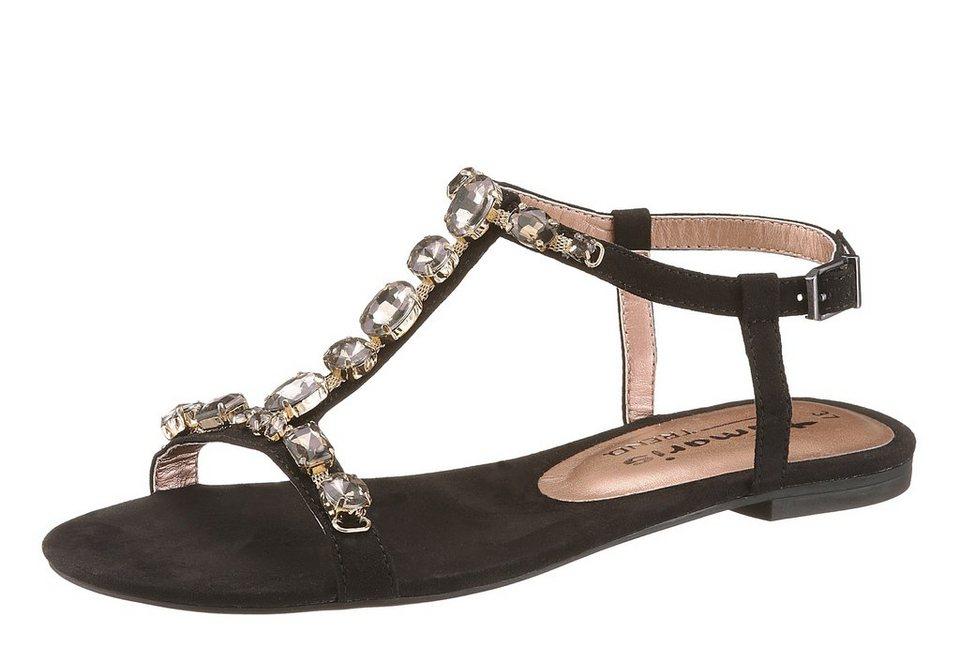 Tamaris Sandale mit Schmucksteinen in schwarz
