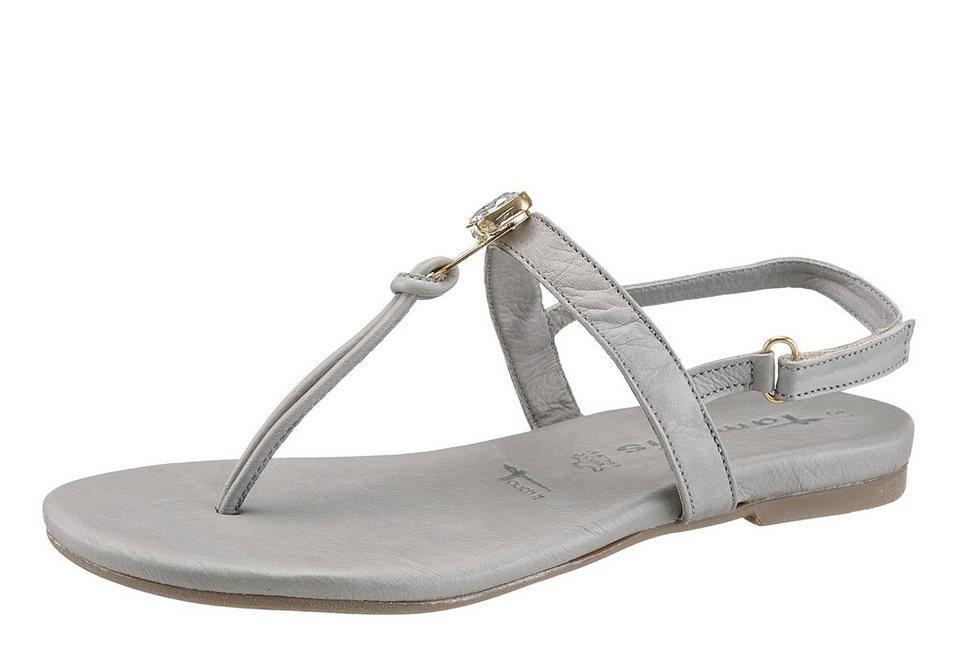 Tamaris Sandale mit Schmucksteinchen in grau