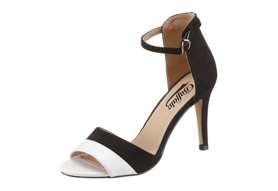Buffalo High Heel Sandalette im Materialmix in schwarz/weiß