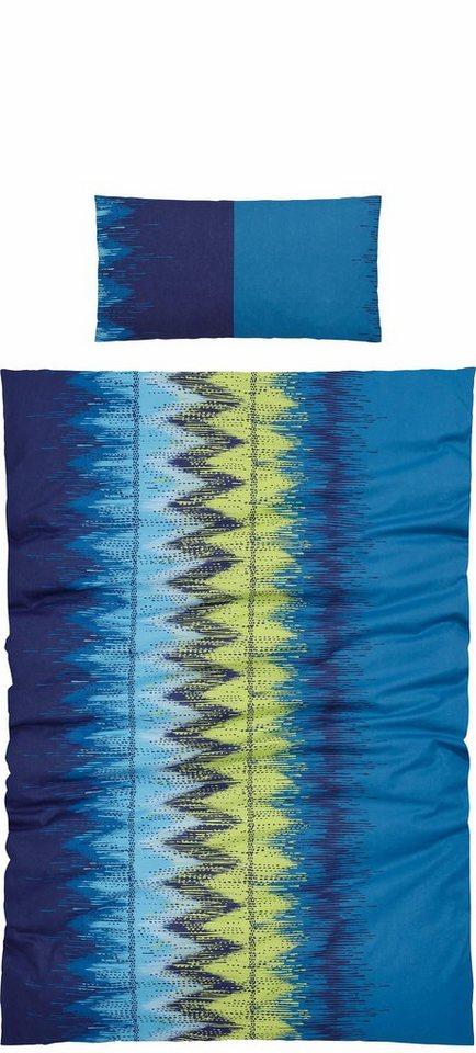 Bettwäsche, Ecorepublic Home, »Alva«, mit bunten Zick-Zack-Streifen in grün-blau