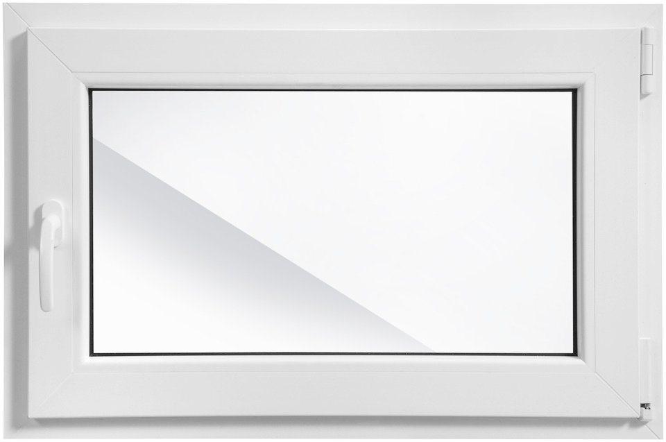 Kunststoff-Fenster, Festmaß »BxH: 90 x 60 cm« einflügelig, weiß in weiß