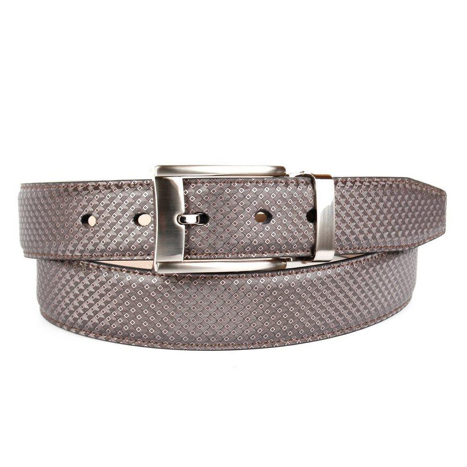 Anthoni Crown Klassischer Ledergürtel in Grau