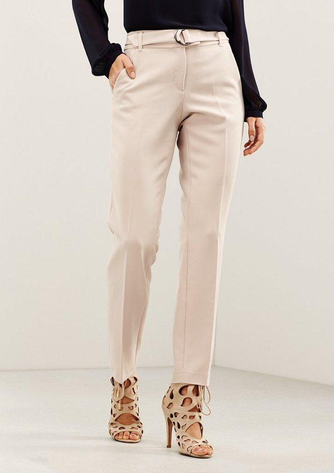 COMMA Elegante Businesspants mit raffinierten Details in pearl