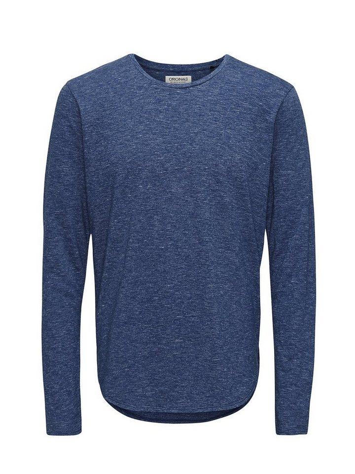 Jack & Jones T-Shirt mit langen Ärmeln Lang geschnittenes in NAVY BLAZER 1