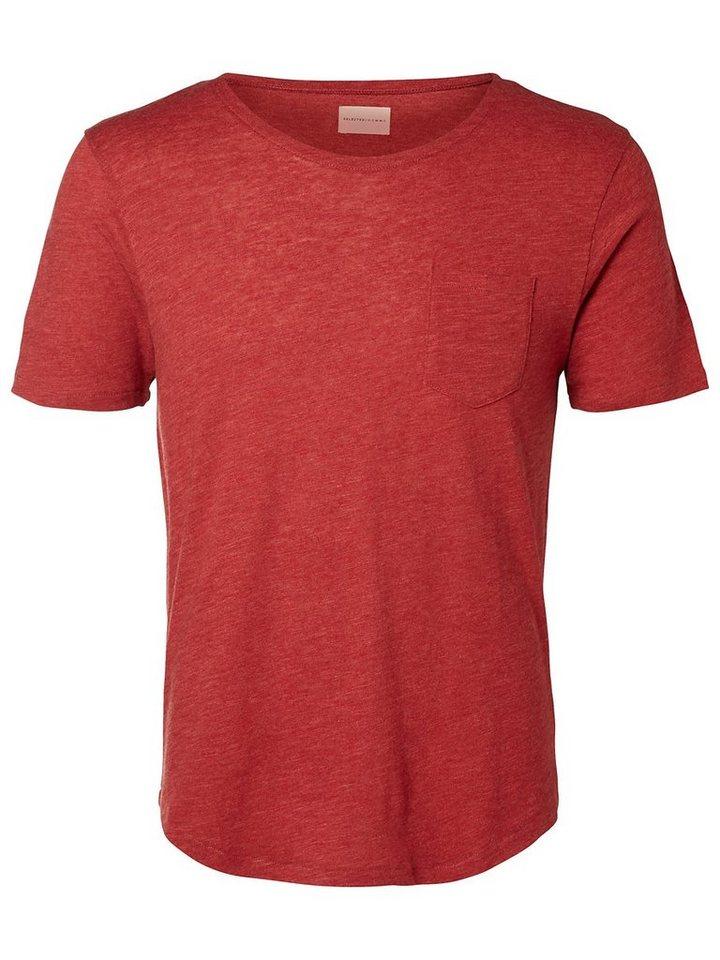 Selected Rundausschnitt T-Shirt in Red Dahlia