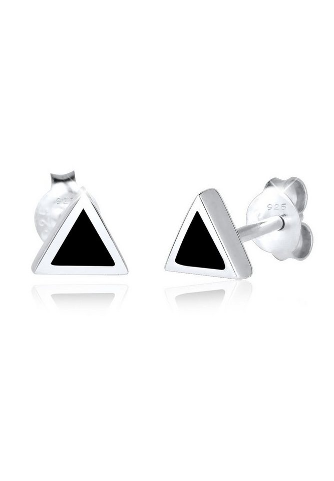 Elli Ohrringe »Dreieck Geo Basic Trend Emaille 925 Silber« in Schwarz