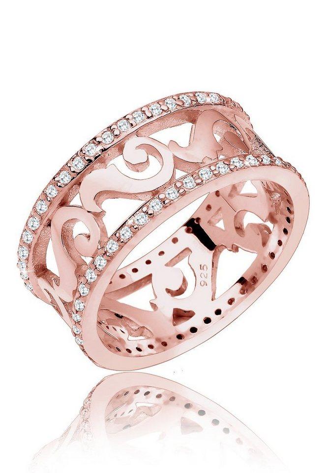 Elli Ring »Ornament Zirkonia Silber rosé-vergoldet« in Rosegold