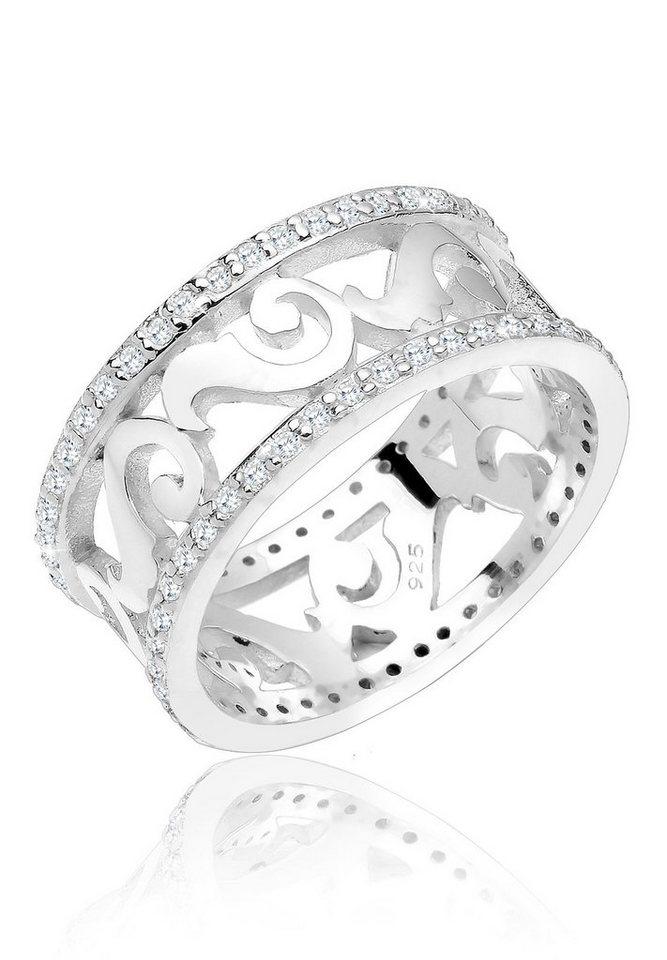 Elli Ring »Ornament Bandring Zirkonia 925 Silber« in Weiß
