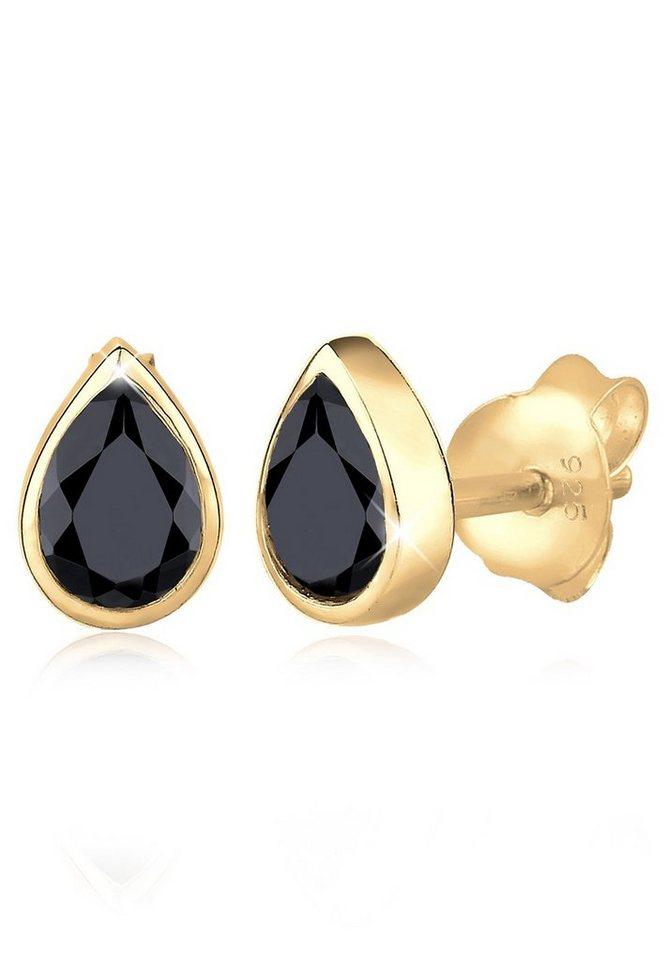 Elli Ohrringe »Tropfen Basic Funkelnd Swarovski® Kristalle Silber« in Schwarz