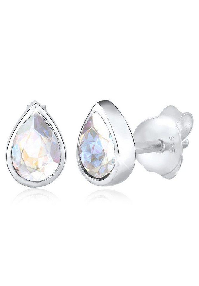 Elli Ohrringe »Tropfen Basic Funkelnd Swarovski® Kristalle Silber« in Weiß