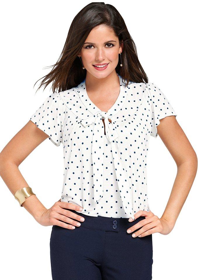 Classic Inspirationen Shirt mit Bindeband am Rundhals-Ausschnitt in weiß-marine-getupft