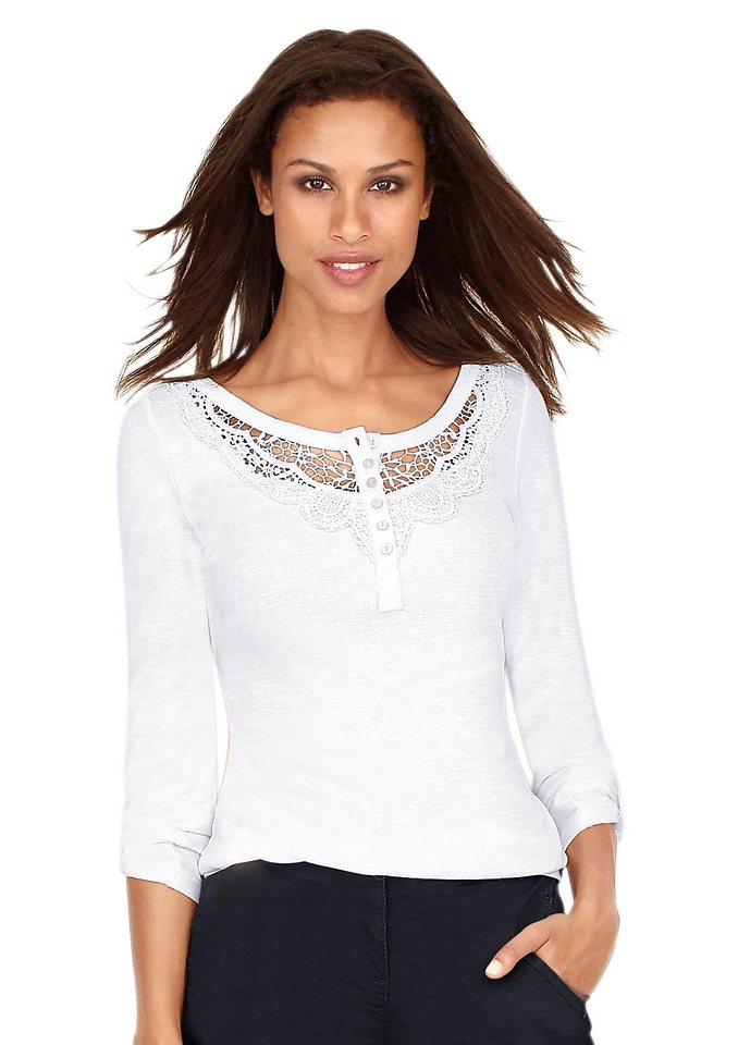 Classic Inspirationen Shirt mit Spitzeneinsatz am Dekolleté in weiß
