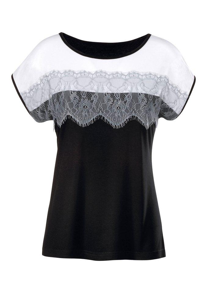 Ambria Shirt mit Spitze im Vorderteil in schwarz-weiß-gemustert