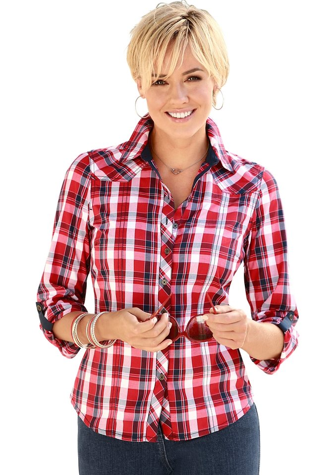 Collection L. Bluse in rot-kariert