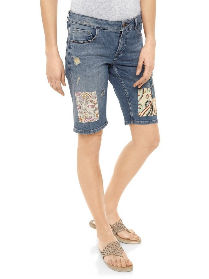 Jeans-Bermuda in blue stone