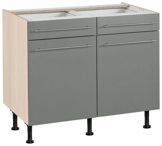 OPTIFIT Unterschrank »Bern« 100 cm breit, mit 2 Türen, 2 Schubkästen, mit höhenverstellbaren Füßen, mit Metallgriffen