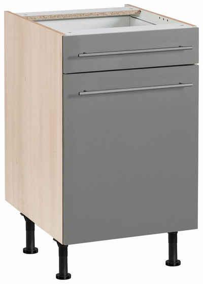 OPTIFIT Unterschrank »Bern« 50 cm breit, mit 1 Tür, mit 1 Schubkasten, mit höhenverstellbaren Füßen, mit Metallgriffen