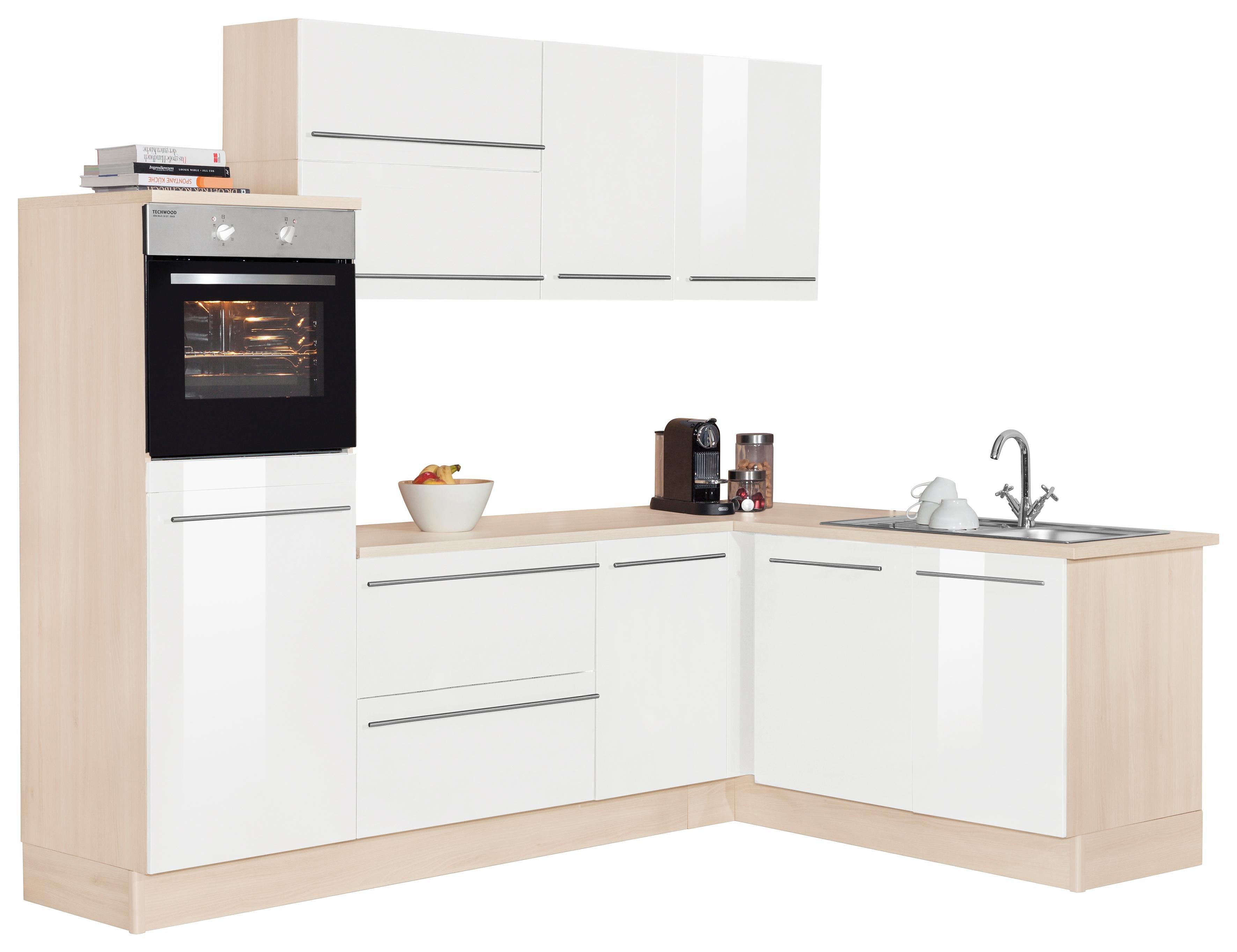 OPTIFIT Winkelküche ohne E-Geräte »Bern«, Stellbreite 255 x 175 cm mit höhenverstellbaren Füßen | Küche und Esszimmer > Küchen > Winkelküchen | Lava - Weiß - Hochglanz | Lack - Hochglanz - Edelstahl - Melamin | OPTIFIT