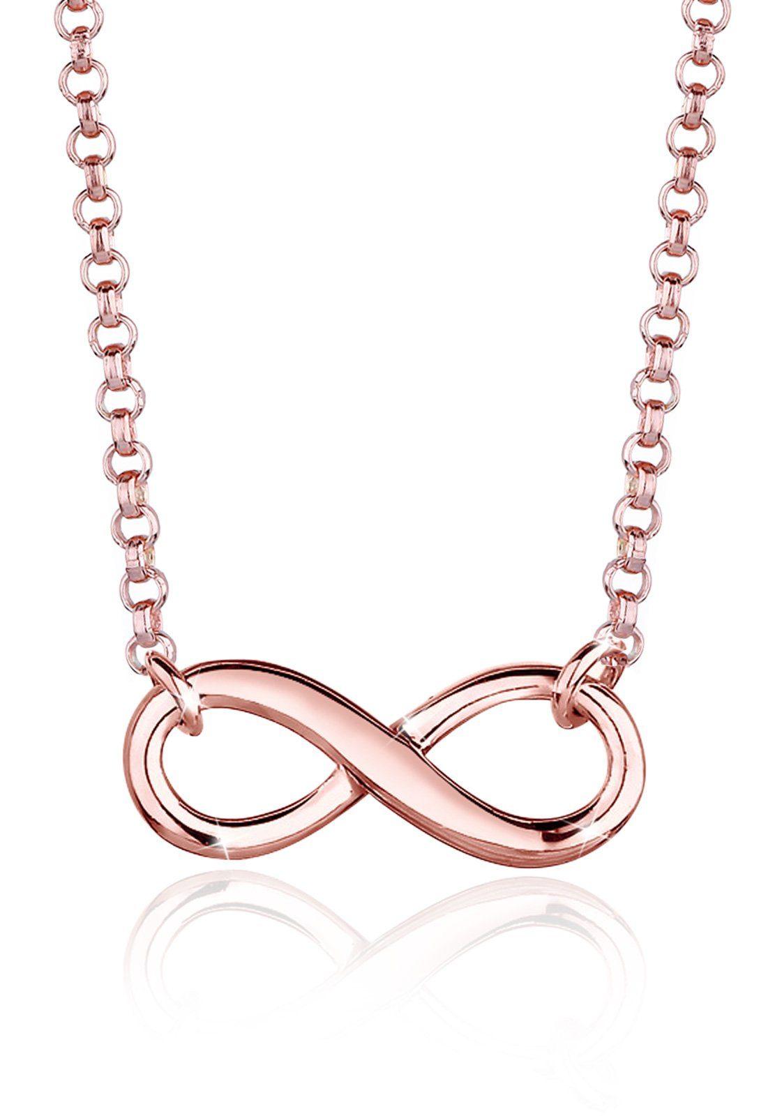 Elli Halskette »Infinity Unendlichkeit 925 Silber rosé vergoldet«