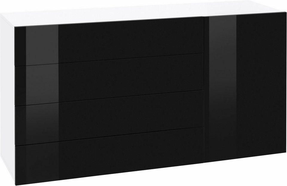 Kommode »Vanessa«, Breite 135 cm in weiß-schwarz