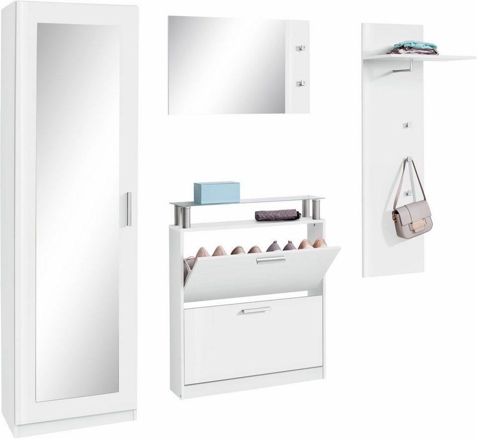Garderoben-Set »Meran« (4-tlg.) in weiß-weiß glänzend