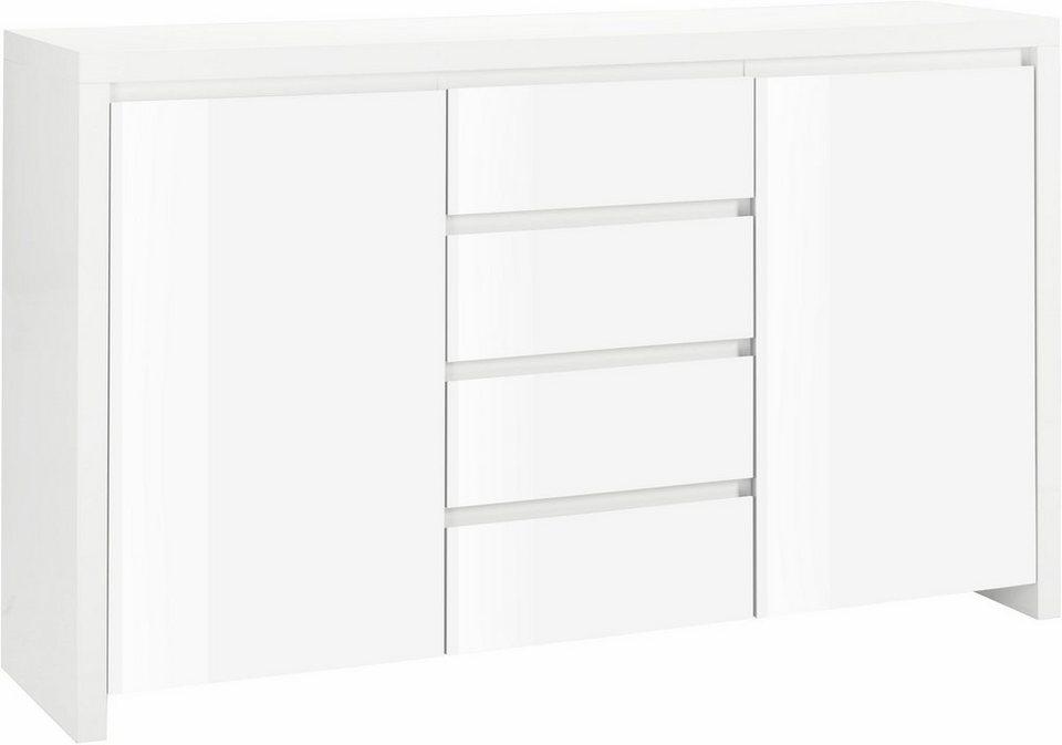 HMW Kommode »Lario«, Breite 164 cm in weiß/weiß Hochglanz