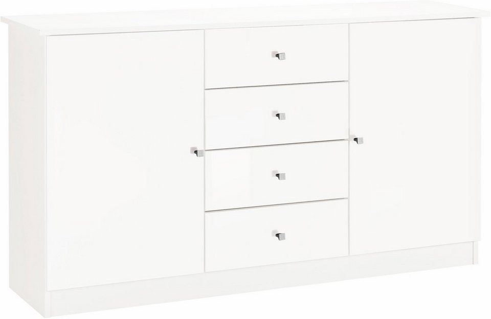 Kommode »Kompakta«, Breite 143 cm in weiß-weiß matt