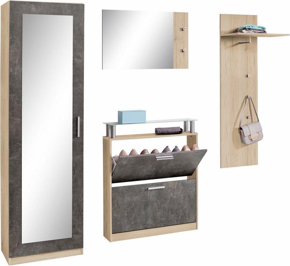 Garderoben set meran 4 tlg mit spiegelfront im for Garderobenschrank set