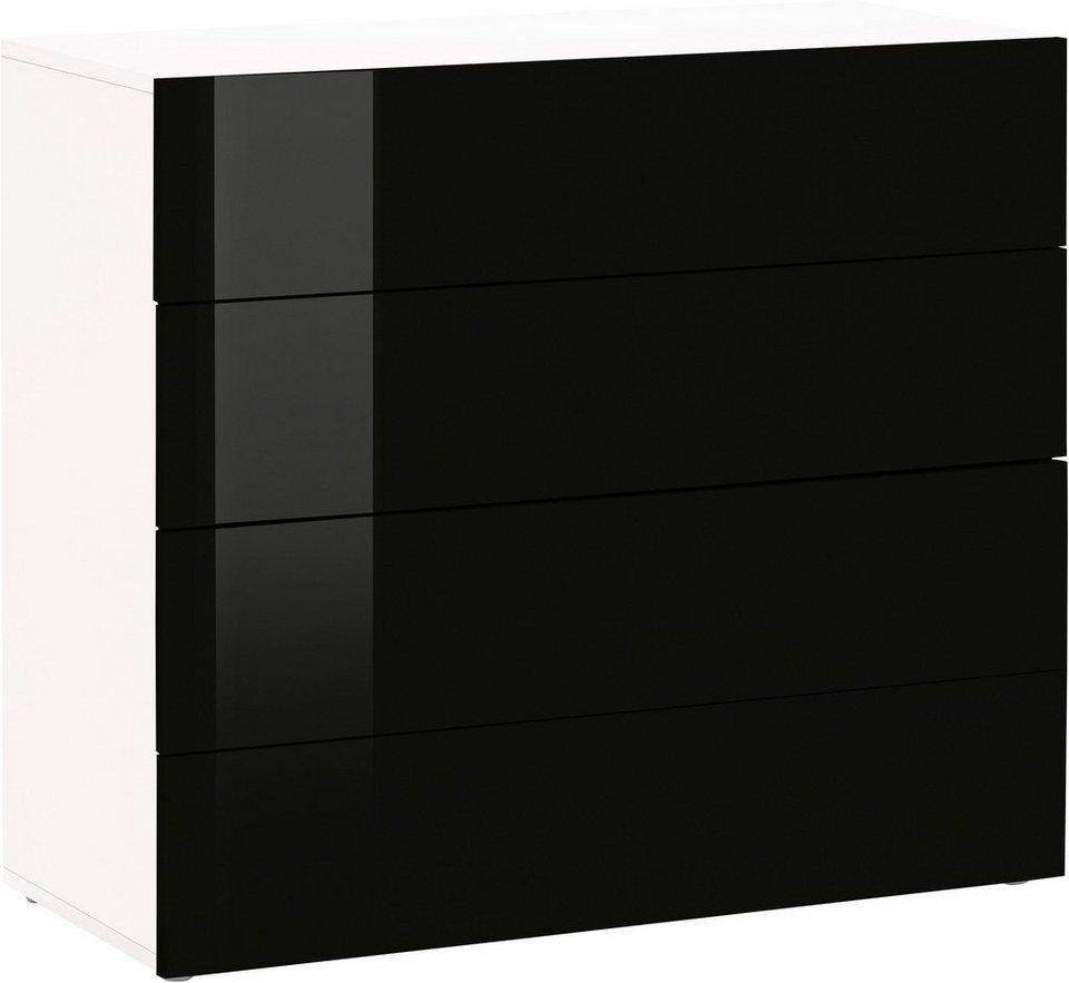 Kommode »Vanessa«, Breite 91 cm in weiß-schwarz