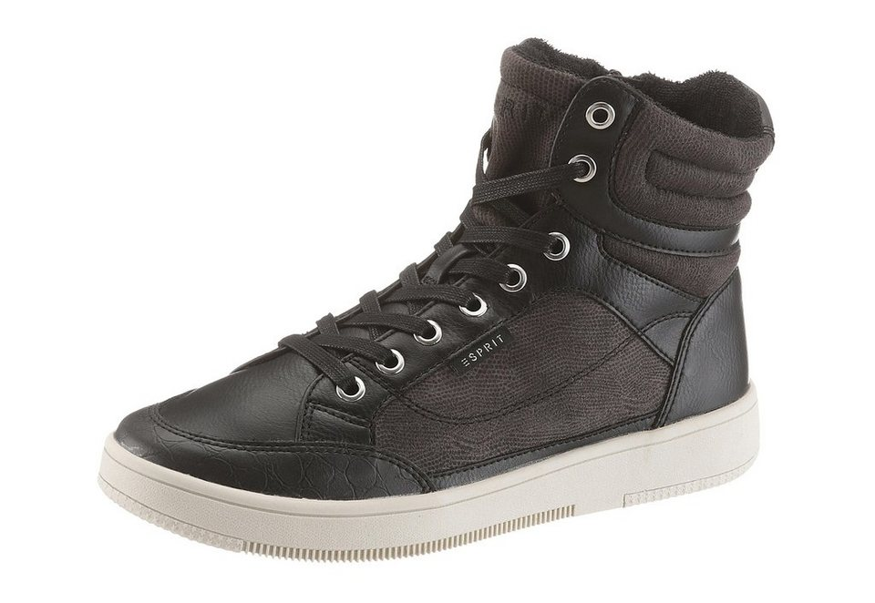 Esprit Sneaker im Materialmix in schwarz