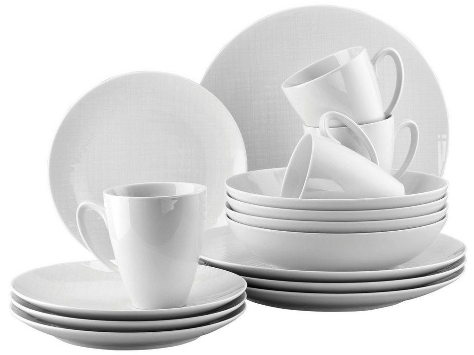 ROSENTHAL Kaffeeservice, Porzellan, »Mesh« (16tlg.) in weiß