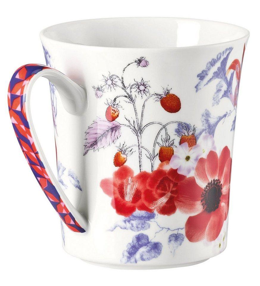 ROSENTHAL Becher mit Henkel, »Belles Fleurs« in rot