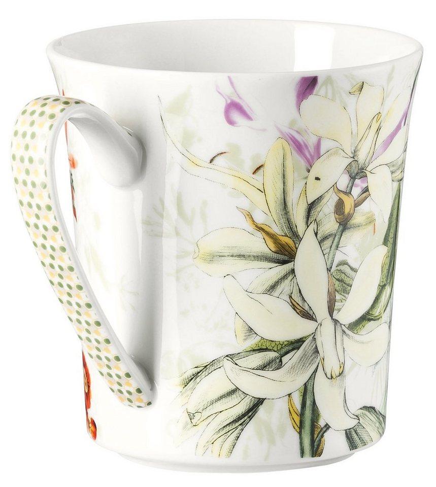 ROSENTHAL Becher mit Henkel, »Belles Fleurs« in olivefarben