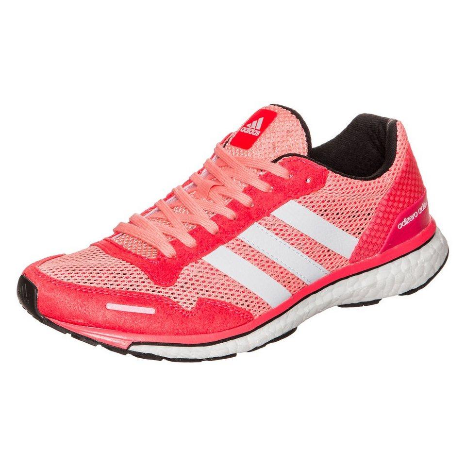 adidas Performance adizero Adios Boost 3 Laufschuh Damen in koral / rot / weiß