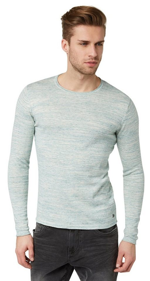 TOM TAILOR Pullover »heather yarn sweater« in deep green lake