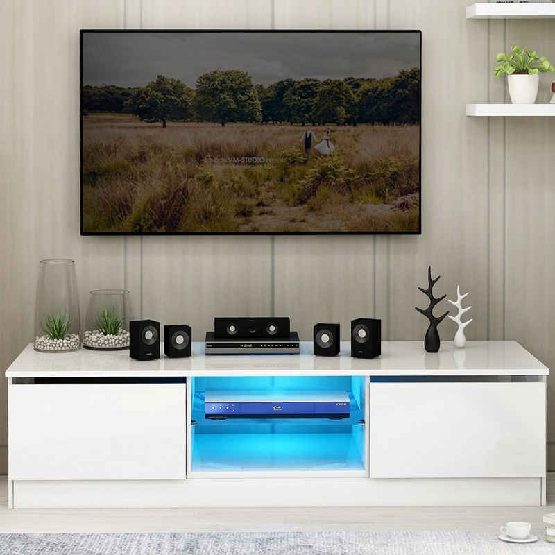 Masbekte TV-Schrank TV-board, Moderne TV-Einheit, LED-TV-Ständer 120 cm Schranktisch mit 16-Farben-LED-RGB-Leuchten, Aufbewahrung, Wohnmöbel