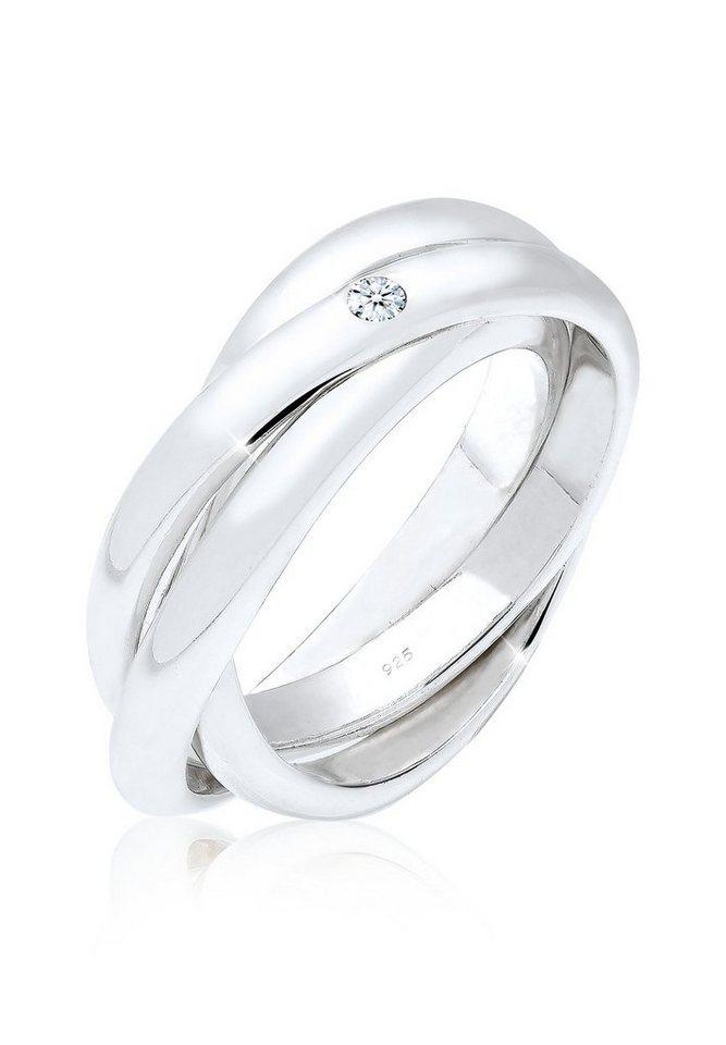 Elli Ring »Verlobungsring Diamant 0.03 ct. 925 Silber« in Weiß