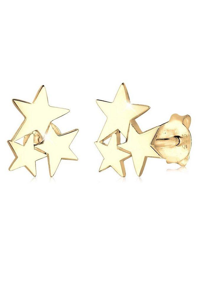 GOLDHIMMEL Ohrringe »Sterne Astro Trend Star 925 Silber vergoldet« in Gold