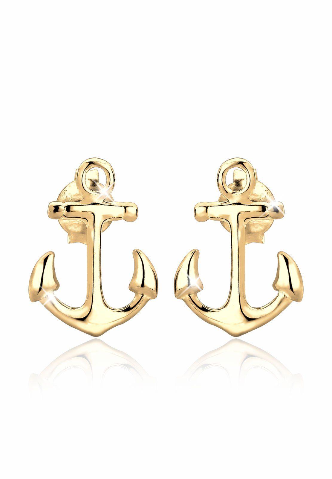 Elli Ohrringe »Anker Maritim Sailor Filigran 925 Silber vergoldet«