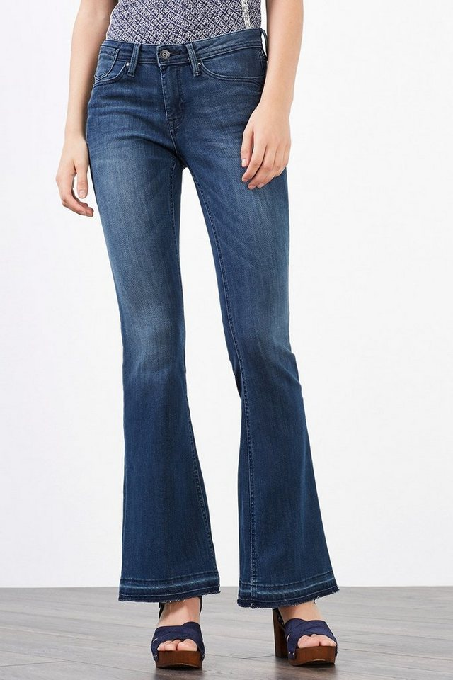 EDC Stretchige Bootcut-Jeans in BLUE DARK WASHED