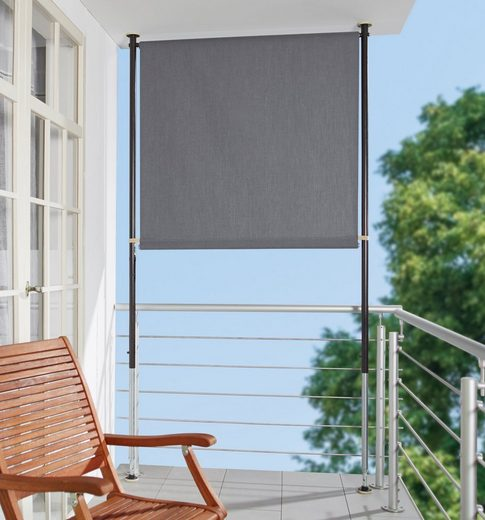 ANGERER FREIZEITMÖBEL Klemm-Senkrechtmarkise grau, BxH: 120x275 cm