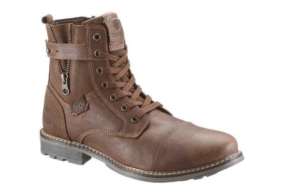 Dockers Schnür Stiefel mit Reißverschluss in braun