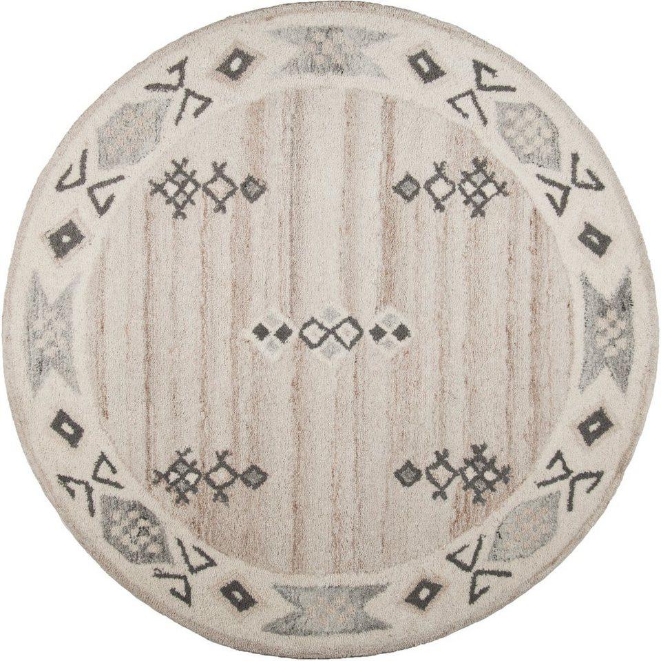 Teppich, Rund, Theko die Markenteppiche, »Royal Berber«, handgetuftet in creme