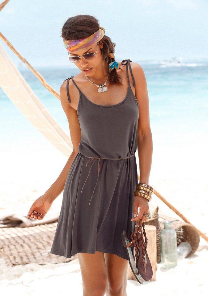 LASCANA Strandkleid bedruckt oder uni in braun